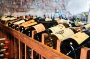 wine on display behind bar